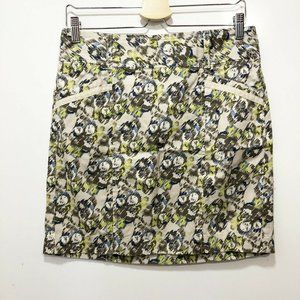 LOFT 2 Mini Skirt Green Blue Floral Casual Wiggle